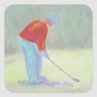 Golfista, pegatinas pegatina cuadrada