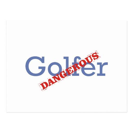 Golfista peligroso tarjeta postal
