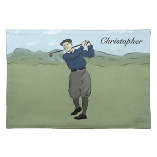 Golfista personalizado del estilo del vintage que  manteles