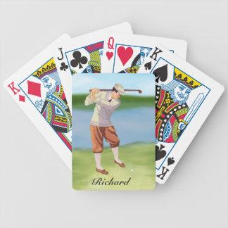 Golfista personalizado del vintage por el barajas de cartas