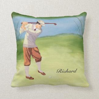 Golfista personalizado del vintage por el cojín