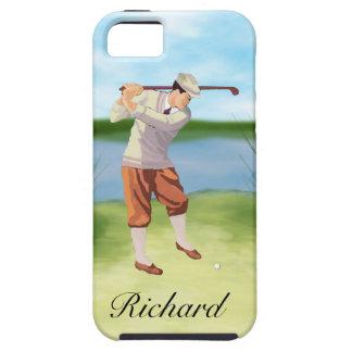 Golfista personalizado del vintage por el iPhone 5 fundas
