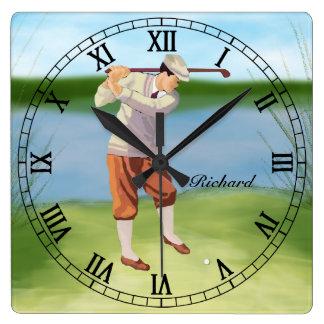 Golfista personalizado del vintage por el reloj cuadrado
