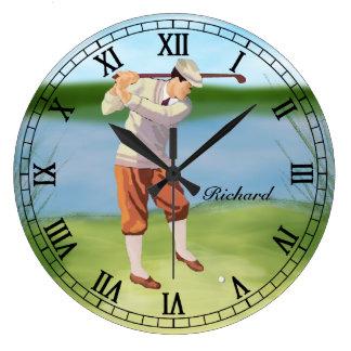 Golfista personalizado del vintage por el reloj redondo grande