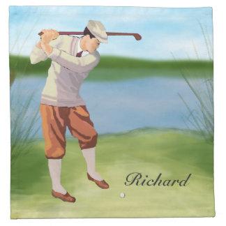 Golfista personalizado del vintage por el servilletas imprimidas