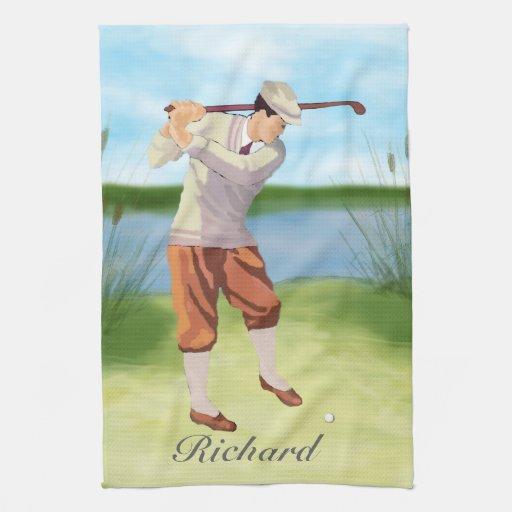 Golfista personalizado del vintage por Riverbank Toalla De Mano
