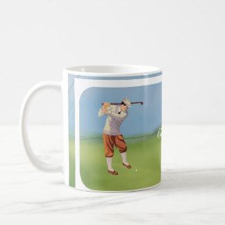 Golfista personalizado del vintage por Riverbank Taza Básica Blanca