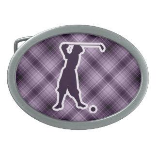 Golfista púrpura del vintage hebillas cinturon ovales