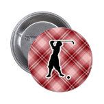 Golfista rojo del vintage de la tela escocesa pin