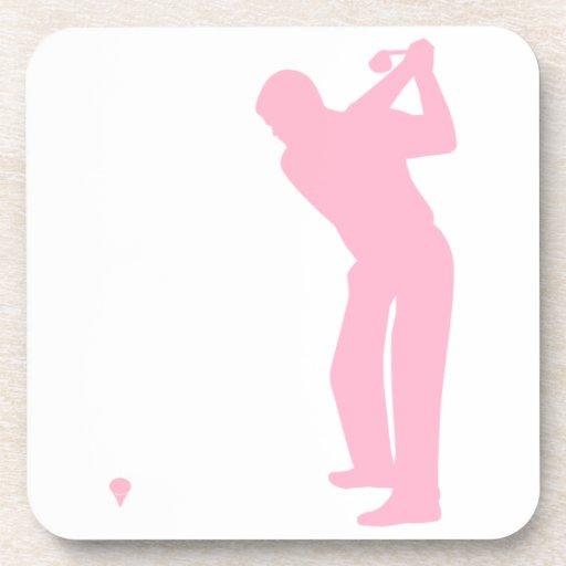 Golfista rosa claro posavasos de bebida