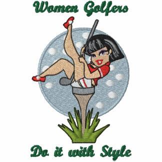 Golfistas de las mujeres sudadera bordada con cremallera de mujer
