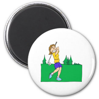 Golfistas del chica imán redondo 5 cm