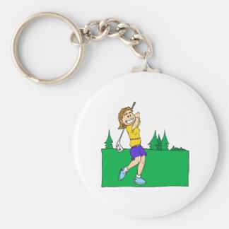 Golfistas del chica llaveros personalizados