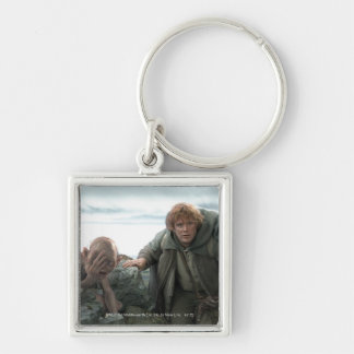 Gollum and Samwise Silver-Colored Square Keychain