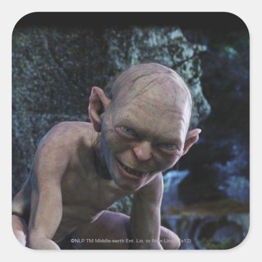 Gollum con sonrisa pegatina cuadrada