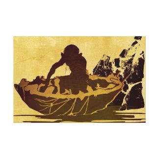 Gollum en una balsa impresion de lienzo