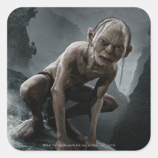 Gollum en una roca pegatina cuadradas