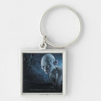Gollum in Cave Silver-Colored Square Keychain