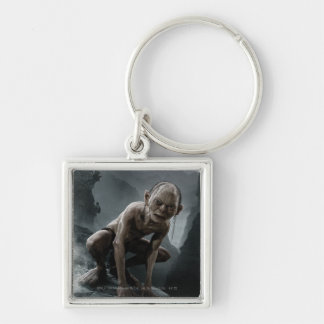 Gollum on a Rock Silver-Colored Square Keychain