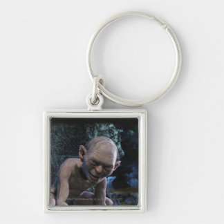 Gollum with Smile Silver-Colored Square Keychain