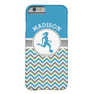 Golly Girls Blue Chevron Stripes Soccer With Name Barely There iPhone 6 Case