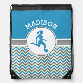 Golly Girls Blue Chevron Stripes Soccer With Name Drawstring Bag