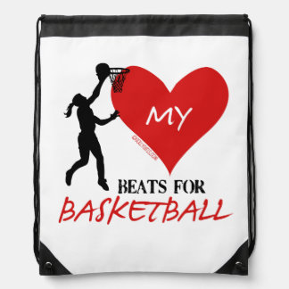 Golly Girls - My Heart Beats for Basketball Drawstring Backpack
