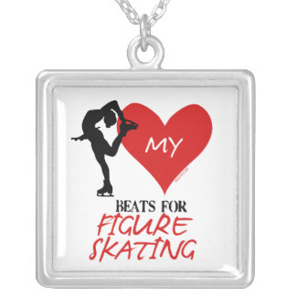 Golly Girls - My Heart Beats for Figure Skating Silver Plated Necklace
