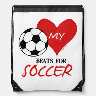 Golly Girls - My Heart Beats for Soccer Drawstring Backpack