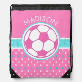 Golly Girls: Pink and Teal Soccer Ball Monogrammed Drawstring Backpack