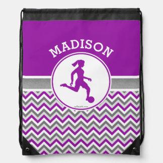Golly Girls Purple Chevron Stripes Soccer Drawstring Bag