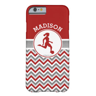 Golly Girls Red Chevron Stripes Soccer With Name Barely There iPhone 6 Case