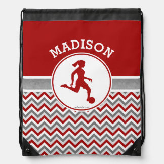 Golly Girls Red Chevron Stripes Soccer With Name Drawstring Backpack