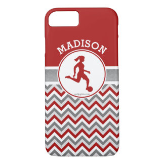 Golly Girls Red Chevron Stripes Soccer With Name iPhone 7 Case