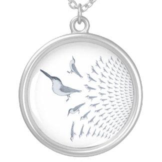 Golondrinas de mar en vuelo en un collar plateado