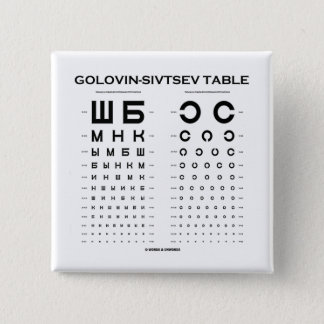 Golovin-Sivtsev Table (Visual Acuity Test / Exam) Pinback Button