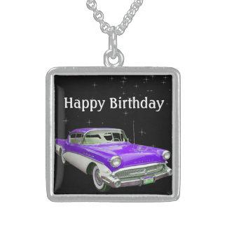 Golpe clásico púrpura del cumpleaños del coche del colgante cuadrado