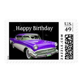 Golpe clásico púrpura del cumpleaños del coche del estampilla