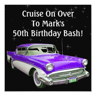 """Golpe clásico púrpura del cumpleaños del coche del invitación 5.25"""" x 5.25"""""""