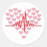 golpe de corazón rojo retro etiquetas