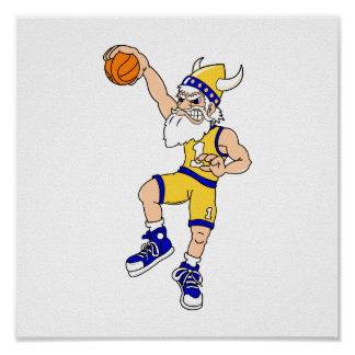 Golpe del baloncesto de Viking Póster