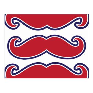 Golpe del bigote - rojo, blanco y azul tarjetas postales
