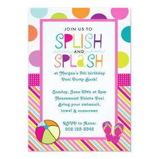 """Golpe del chapoteo de Splish (rosa) Invitación 5"""" X 7"""""""