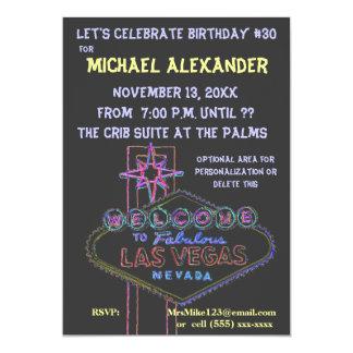 """Golpe del cumpleaños de la señal de neón de Las Invitación 5"""" X 7"""""""