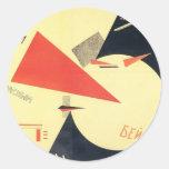 Golpe del EL Lissitzky- los blancos con la cuña Pegatina Redonda