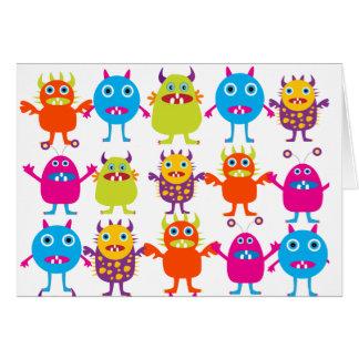 Golpe divertido colorido de las criaturas del fies tarjeton