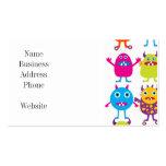 Golpe divertido colorido de las criaturas del fies plantilla de tarjeta de negocio