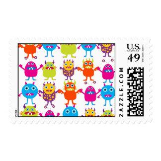 Golpe divertido colorido de las criaturas del timbres postales