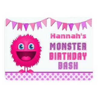 Golpe femenino lindo del cumpleaños del monstruo invitacion personalizada