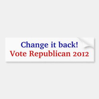 Golpe Obama.  ¡Cambíelo detrás! Pegatina Para Auto
